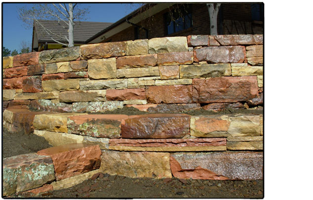 Dry laid moss rock wall