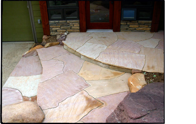 Dry laid flagstone entryway with boulders $4,800